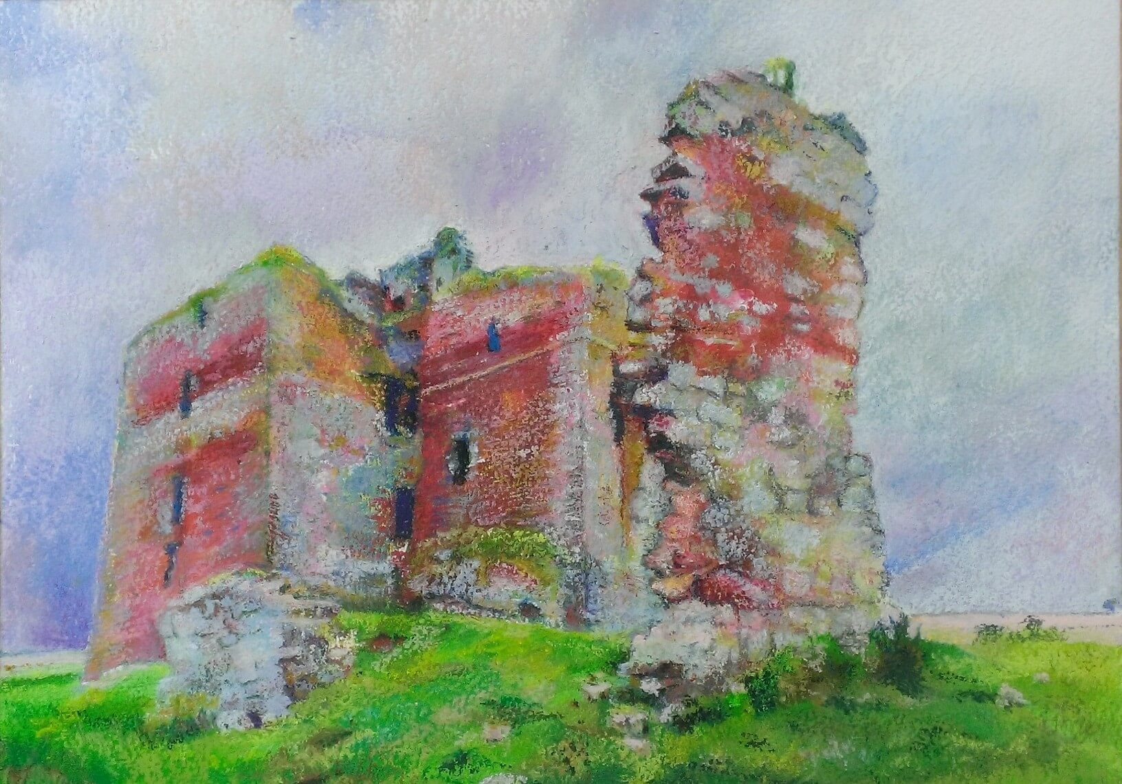 'Reivers' Feud', Cessford  Castle, near Kelso. 30 x 23cm Mixed media 2019