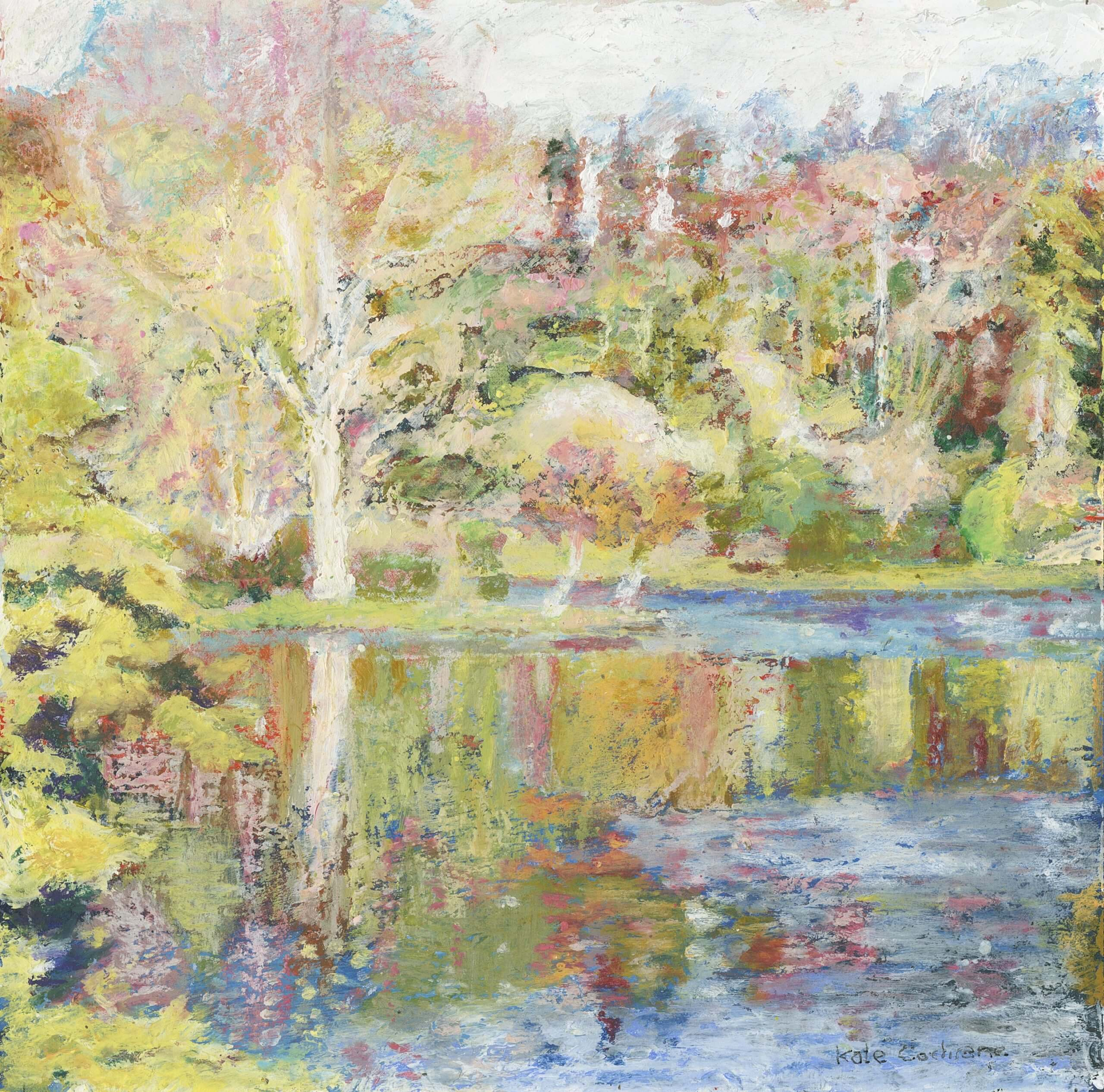 The Island at Stourhead', pastel 15.5 x 15.5cm 2019